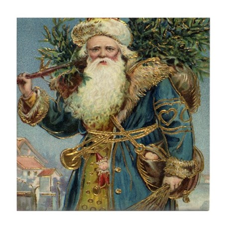 Vintage Christmas Santa Claus Tile Coaster