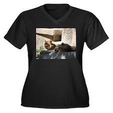 Just Lions Women's Plus Size V-Neck Dark T-Shirt