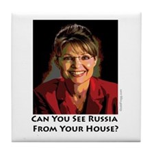 Sarah Palin Can You See Russia Tile Coaster