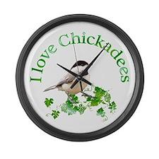 Chickadee Large Wall Clock