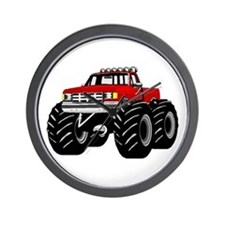 Red MONSTER Truck Wall Clock