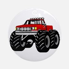 Red MONSTER Truck Ornament (Round)