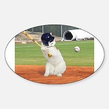 Baseball Cat Oval Decal