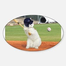 Baseball Cat Oval Sticker (10 pk)