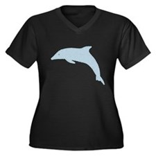 Dolphin in Circles Women's Plus Size V-Neck Dark T