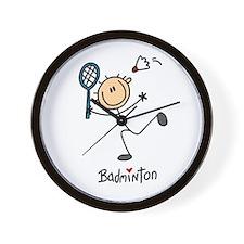 Badminton Stick Figure Wall Clock