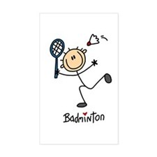 Badminton Stick Figure Rectangle Decal