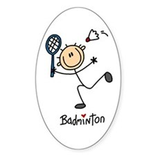 Badminton Stick Figure Oval Decal