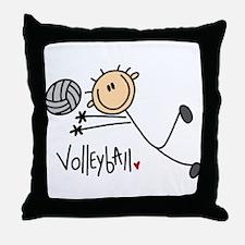 Volleyball Stick Figure Throw Pillow