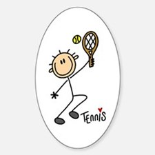 Tennis Stick Figure Oval Decal