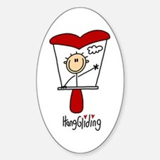 HangGliding Stick Figure Oval Decal