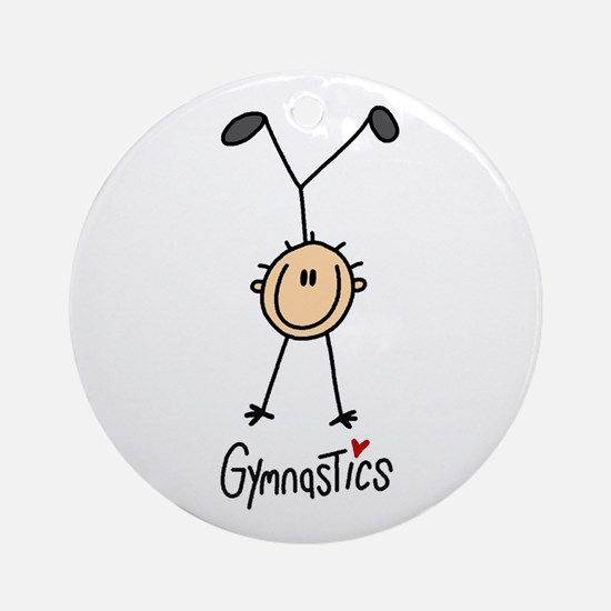 Gymnastics Stick Figure Ornament (Round)
