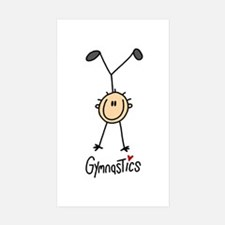 Gymnastics Stick Figure Rectangle Sticker 10 pk)