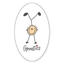 Gymnastics Stick Figure Oval Bumper Stickers