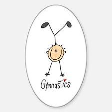Gymnastics Stick Figure Oval Decal