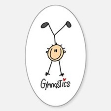 Gymnastics Stick Figure Oval Sticker (10 pk)