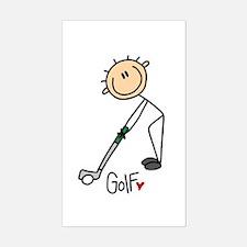 Golf Stick Figure Rectangle Bumper Stickers