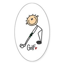 Golf Stick Figure Oval Decal