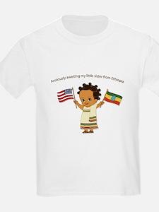 Awaiting my Sister Ethiopia Adoption Kids T-Shirt