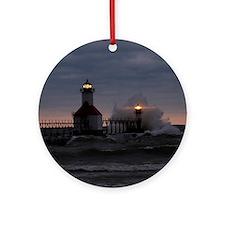 St Joe North Pier Lighthouses Ornament (Round)