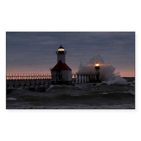 St Joe North Pier Lighthouses Rectangle Sticker