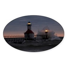 St Joe North Pier Lighthouses Oval Decal