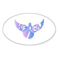 Karen (Blue and Pink Bird) Oval Decal