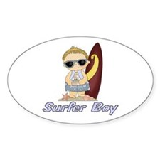 Surfer Boy Oval Decal