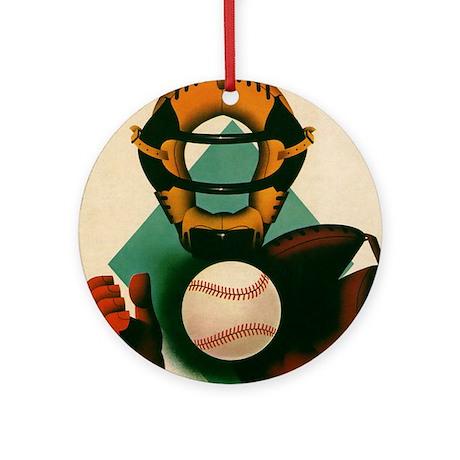 Vintage Sports Baseball Catcher Ornament (Round)