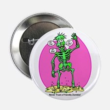 """Funny Friendly Zombie 2.25"""" Button"""