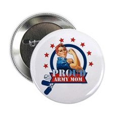 "Rosie Proud Army Mom 2.25"" Button"