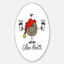 Coffee-Aholic Oval Stickers