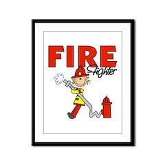 Firefighter Framed Panel Print