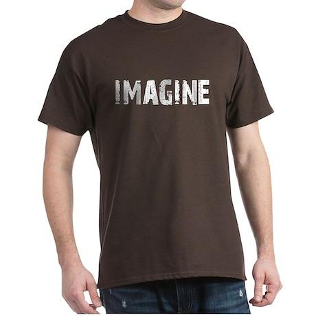 Imagine Dark T-Shirt White Distressed Letters