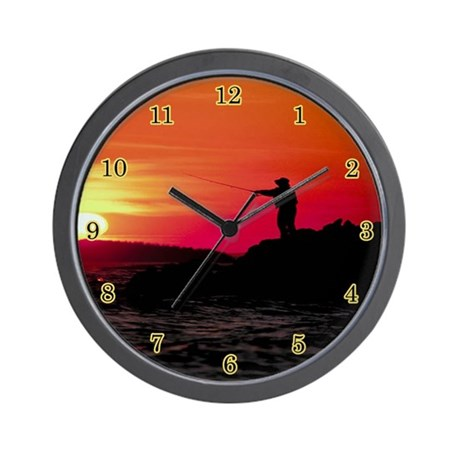 Fishing wall clock by sagart for Fish wall clock