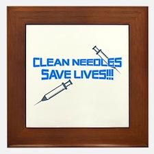 Clean Needles Save Lives Framed Tile