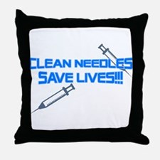 Clean Needles Save Lives Throw Pillow