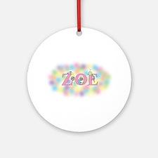 """Zoe"" with Mice Ornament (Round)"