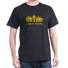 Black gold alien diversity T-Shirt