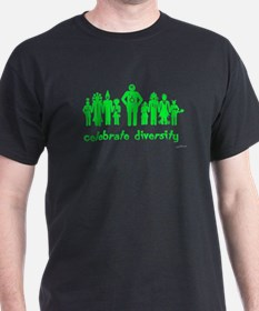 Black green alien diversity T-Shirt