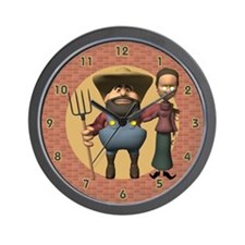 Farmer and Wife Wall Clock