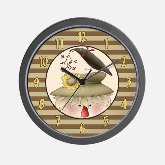 Country Scarecrow Wall Clock