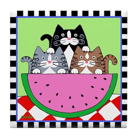 3 Cats & Watermelon Picnic Tile Coaster