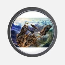 Cute American bald eagles Wall Clock
