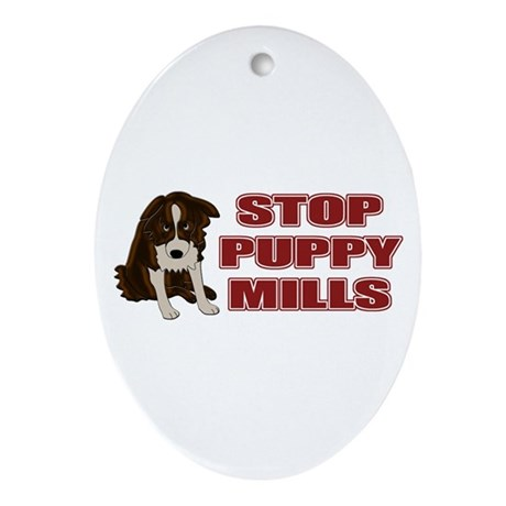 Stop Puppy Mills Ornament (Oval)