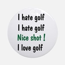 I Hate/Love Golf Ornament (Round)