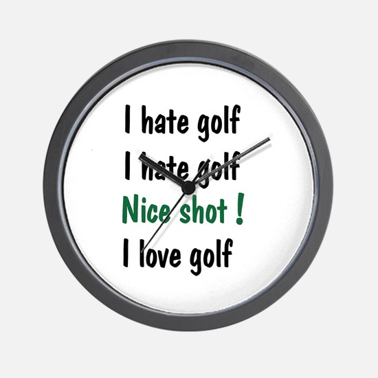 I Hate/Love Golf Wall Clock