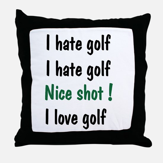 I Hate/Love Golf Throw Pillow