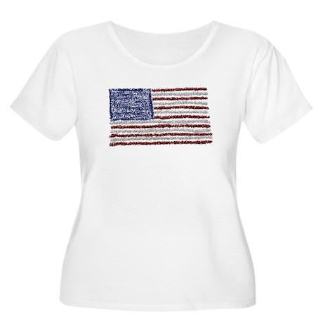 Glitter Flag Women's Plus Size Scoop Neck T-Shirt