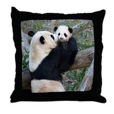 Mom & Baby Giant Pandas Throw Pillow